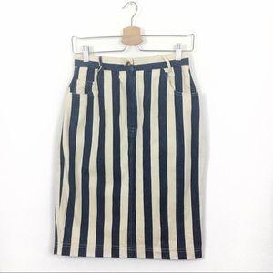 Vintage   Striped Denim Pencil Skirt size 27